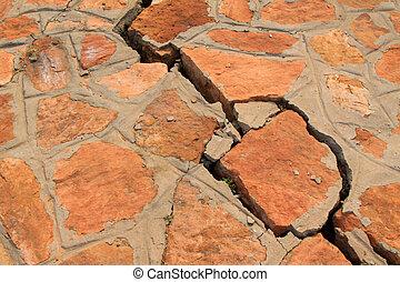 mur brique rouges fissure images mur closeup fissure illustration de stock. Black Bedroom Furniture Sets. Home Design Ideas