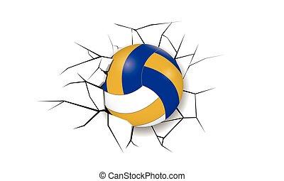 fissure, sport, volley-ball, destruction