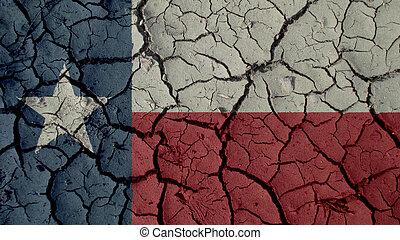 fissures, ambiant, politique, crise, boue, drapeau, concept:, ou, texas