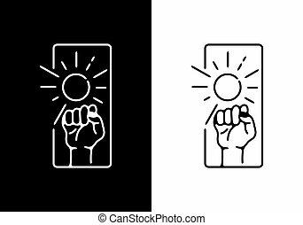 Fist and sun line art badge