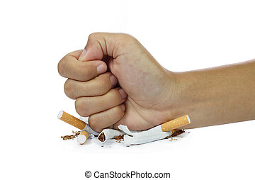 fist breaking cigarette stop smoking concept on white ...