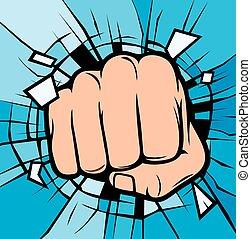 fist breaking through glass (human hand breaking glass )