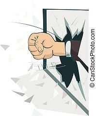 Fist breaks the window isolated illustration