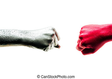 Fist bump, ?orporate ?olleagues, art teamwork concept. Business partners trust in team. Giving fist bump to greeting start up project. Color hands in cooperation