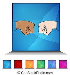 Fist Bump Shiny Button Set - An image of a Fist Bump shiny...