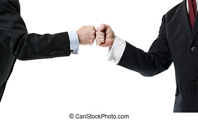 Fist bump - two businessmen greeting with a fist bump...
