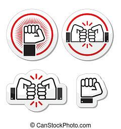 Fist, fist bump vector icons set - Power, revolution,...