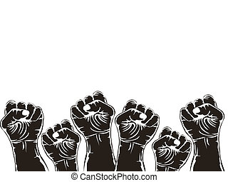 fists with copy space above on white background