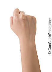 Hand gesture, fist, closeup and isolated on white.