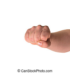 Fist hand gesture isolated