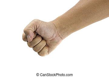 fist hand on white background
