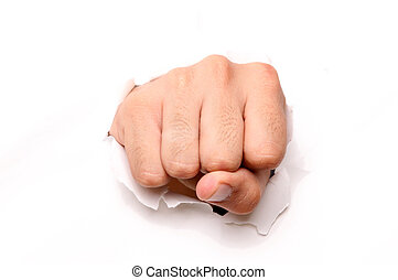Hand punching through paper isolated ove white background