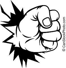 Fist Hand Punching Through Wall