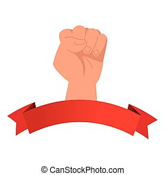 fist hand up power sign with ribbon vector design