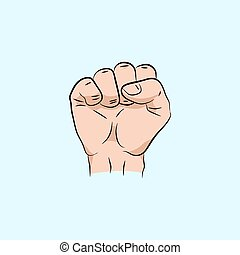 fist held high in protest, vector illustration. Vector hand. Revolution fist. Hand collection.