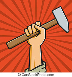 Vector Illustration of a fist holding a hammer in the style of Russian Constructivist propaganda posters.