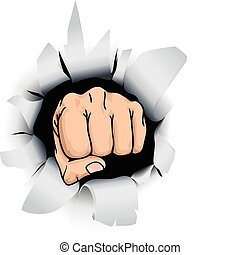 fist illustration - An illustration of a fist breaking...