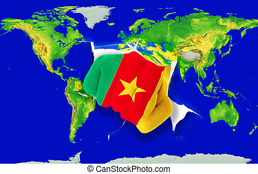 Fist in color national flag of cameroon punching world map as symbol of export, economic growth, power and success