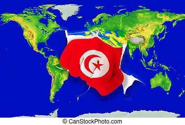 Fist in color national flag of tunisia punching world map -...