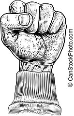 Fist in the Air Vintage Propaganda Poster Style