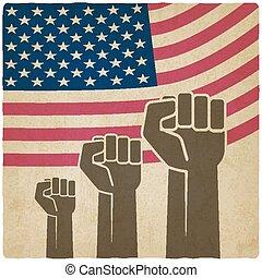 fist independence symbol American flag old background