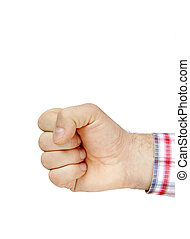 Fist isolated on white - man hand fist isolated on white...