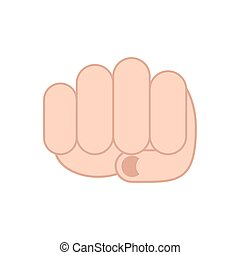 Fist isolated Punch man's hand on white background