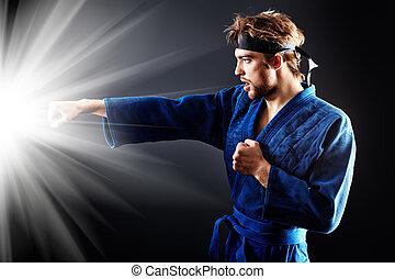 fist kick - Martial arts fighter posing at studio.
