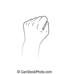 Fist line drawing. Symbol of power fight. vector illustration