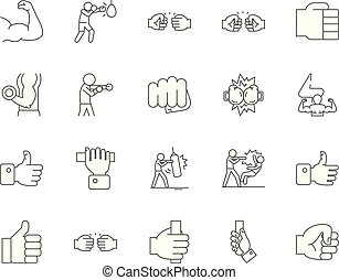 Fist line icons, signs, vector set, outline illustration concept