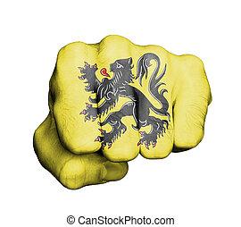Fist of a man punching