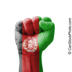 Fist of Afghanistan flag painted, multi purpose concept - isolated on white background