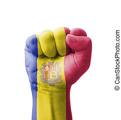 Fist of Andorra flag painted, multi purpose concept - isolated on white background