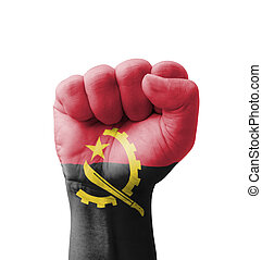 Fist of Angola flag painted, multi purpose concept - isolated on white background