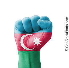 Fist of Azerbaijan flag painted, multi purpose concept - isolated on white background