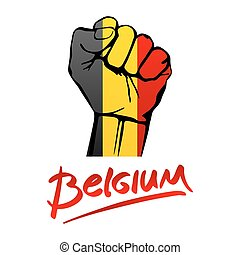 Fist of Belgium flag painted, multi purpose concept - isolated on white background. lettering hand-written Belgium red