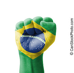 Fist of Brazil flag painted, multi purpose concept - isolated on white background