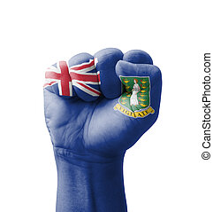 Fist of British Virgin Islands flag painted, multi purpose concept - isolated on white background