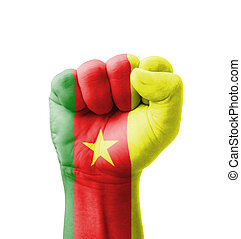 Fist of Cameroon flag painted, multi purpose concept - isolated on white background