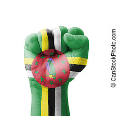 Fist of Dominica flag painted, multi purpose concept -...