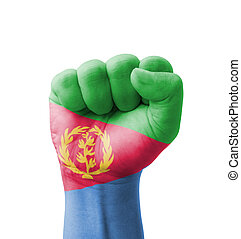 Fist of Eritrea flag painted, multi purpose concept - isolated on white background