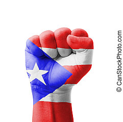 Fist of Puerto Rico flag painted, multi purpose concept -...