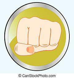 Fist of the person on button