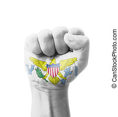 Fist of United States Virgin Islands flag painted, multi purpose concept - isolated on white background
