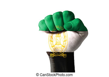 Fist painted in colors of aghanistan flag