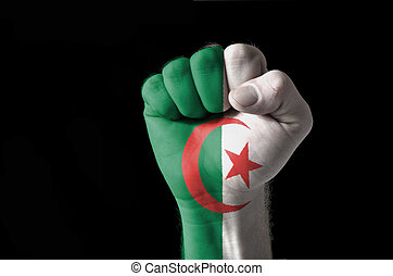 Fist painted in colors of algeria flag