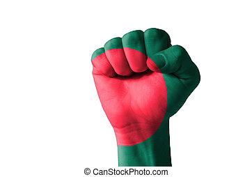 Fist painted in colors of bangladesh flag