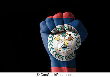Fist painted in colors of belize flag