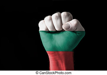 Fist painted in colors of bulgaria flag