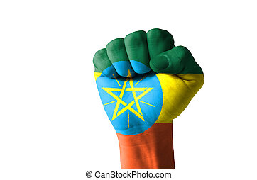 Fist painted in colors of ethiopia flag